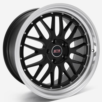 STR RACING STR 601 BLACK - Black/Machined Lip Finish